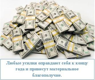 Любые усилия оправдают себя к концу года и принесут материальное благополучие.