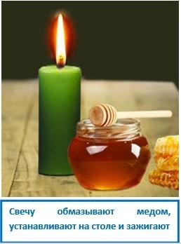 Свечу обмазывают медом, устанавливают на столе и зажигают