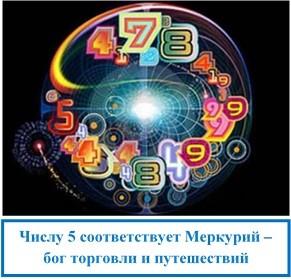 Числу 5 соответствует Меркурий – бог торговли и путешествий