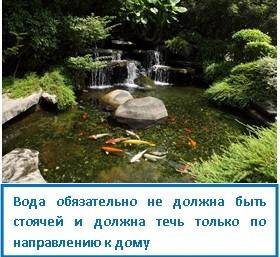 Вода обязательно не должна быть стоячей и должна течь только по направлению к дому