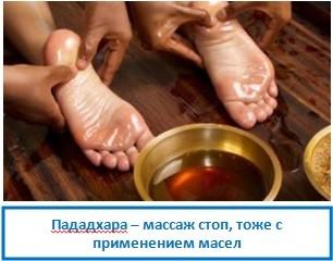 Пададхара – массаж стоп, тоже с применением масел