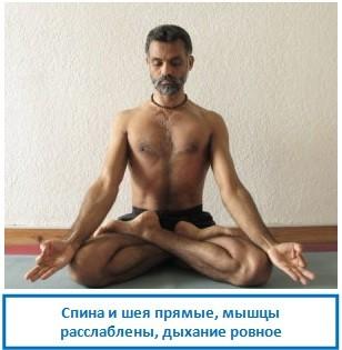 Спина и шея прямые, мышцы расслаблены, дыхание ровное