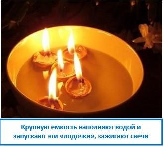 Крупную емкость наполняют водой и запускают эти «лодочки», зажигают свечи